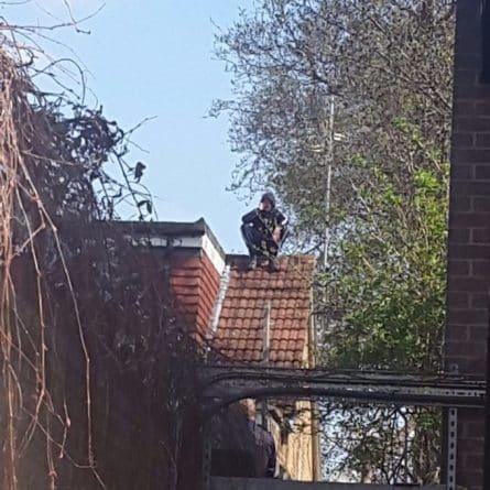 Юмор: Водитель мопеда подозреваемый в столкновении с полицейской машиной спрятался на крыше соседнего дома