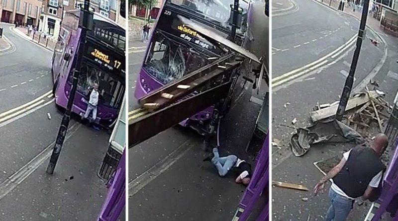 Видео: Сбитый автобусом мужчина как ни в чем не бывало отправился в паб