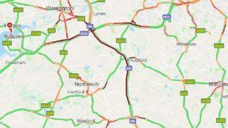 Значительные задержки на трассе М6 на северо-западе Англии