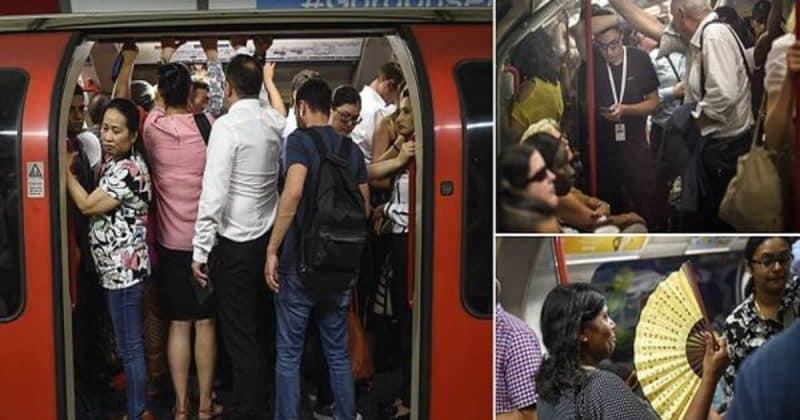 Общество: Пассажиры Лондонского метрополитена рассказывают о своих поездках при 36C в час пик