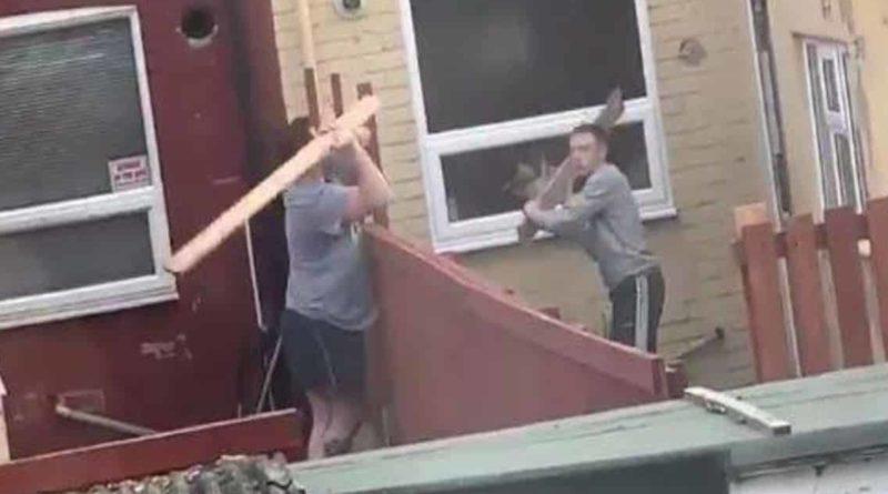 Юмор: Война за территорию: соседи, вооруженные досками и метлой, швыряют ими друг в друга как копьями