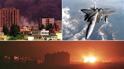 Нови-Сад во время бомбардировки НАТО / Американский истребитель US F-15C Eagle над Югославией в апреле 1999-го / Приштина