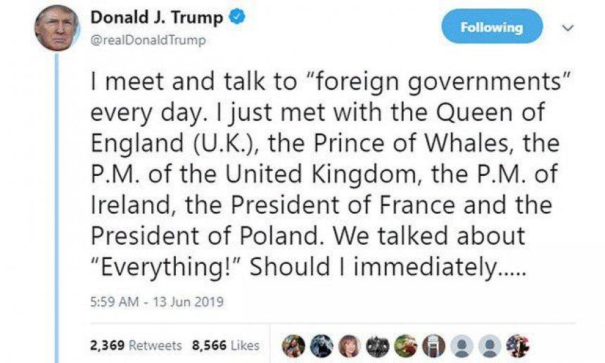 Трамп назвал наследника британского престола «принцем китов»