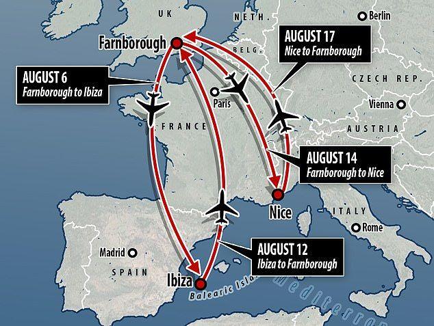 Схема перелетов Меган Маркл и принца Гарри в августе
