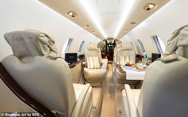 Салон частного самолета Меган Маркл и принца Гарри