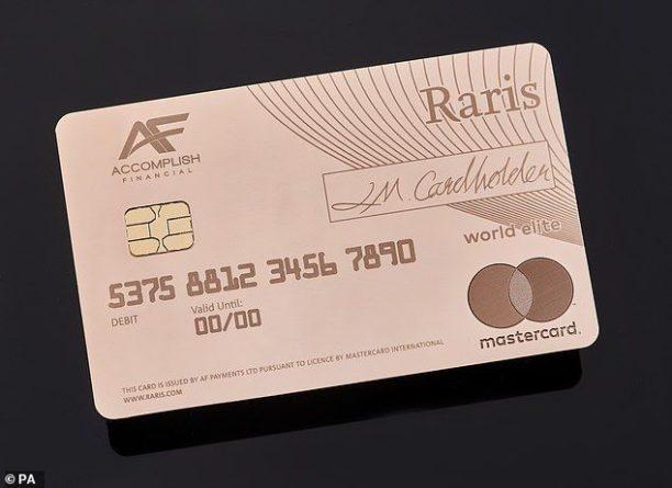 Общество: В Великобритании выпустили первую в мире банковскую карту из чистого золота стоимостью в 18 750 фунтов стерлингов