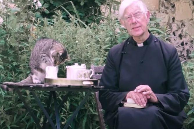 Общество: Кот священника из Англии попытался сорвать онлайн-проповедь и развеселил Сеть