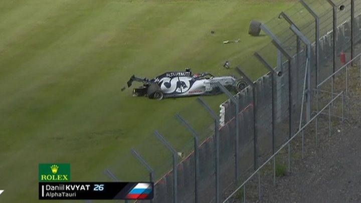 """Общество: Новости на """"России 24"""". Формула-1. Квят разбил свой болид в гонке Гран-при Великобритании"""