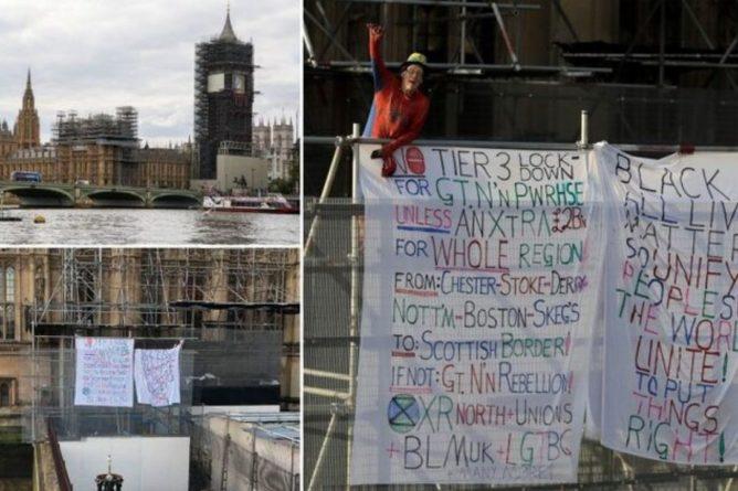 """Общество: Видео дня: В Лондоне 60-летний """"Человек-паук"""" забрался на Биг-Бен - требовал смягчить карантин"""