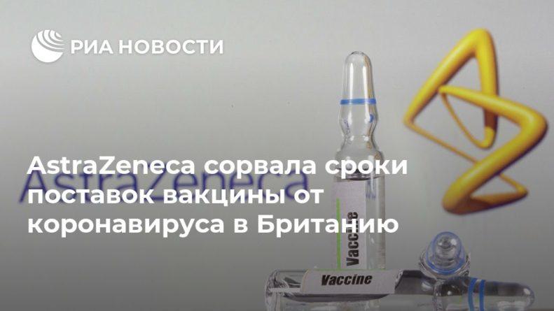 Общество: AstraZeneca сорвала сроки поставок вакцины от коронавируса в Британию