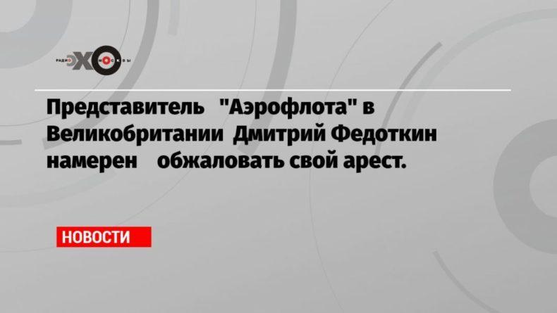 Общество: Представитель «Аэрофлота» в Великобритании Дмитрий Федоткин намерен обжаловать свой арест.