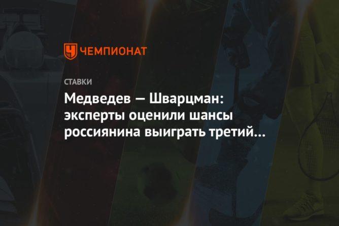 Общество: Медведев — Шварцман: эксперты оценили шансы россиянина выиграть третий матч в Лондоне