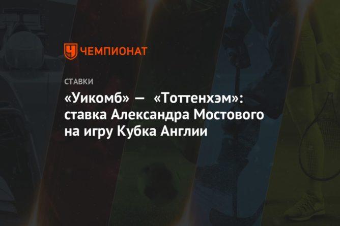 Общество: «Уикомб» — «Тоттенхэм»: ставка Александра Мостового на игру Кубка Англии