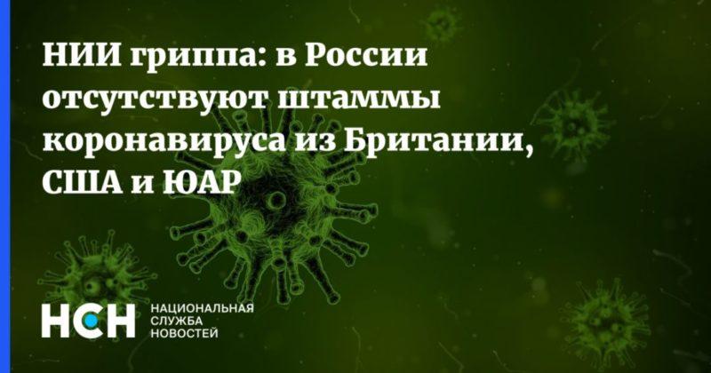 Общество: НИИ гриппа: в России отсутствуют штаммы коронавируса из Британии, США и ЮАР