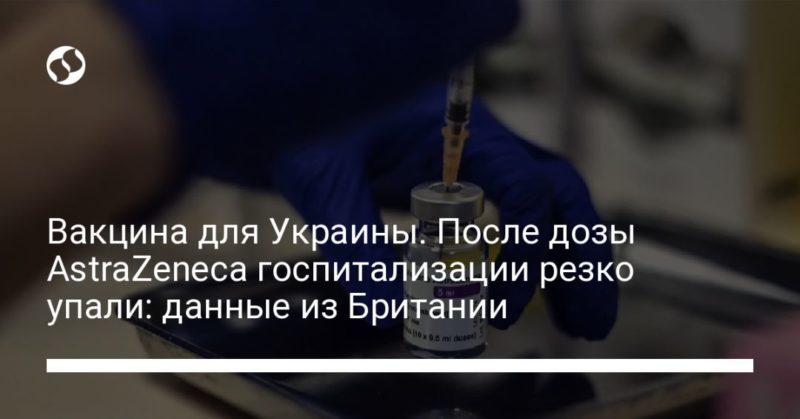 Общество: Вакцина для Украины. После дозы AstraZeneca госпитализации резко упали: данные из Британии