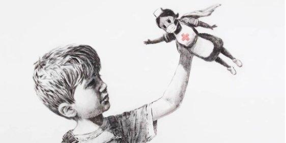 Общество: Картина с «медсестрой-супергероем». Бэнкси выставит на аукцион свою работу, чтобы собрать деньги для медиков Британии