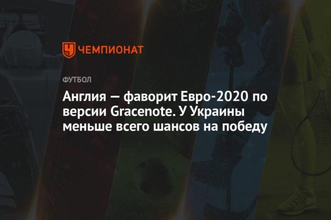 Общество: Англия — фаворит Евро-2020 по версии Gracenote. У Украины меньше всего шансов на победу