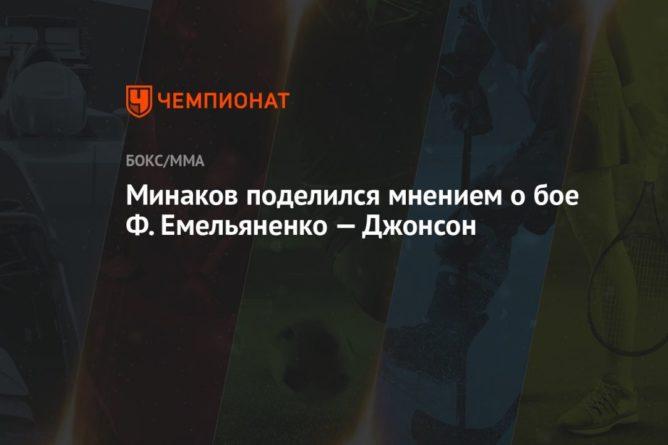 Общество: Минаков поделился мнением о бое Ф. Емельяненко — Джонсон