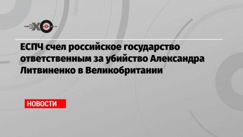 Общество: ЕСПЧ счел российское государство ответственным за убийство Александра Литвиненко в Великобритании