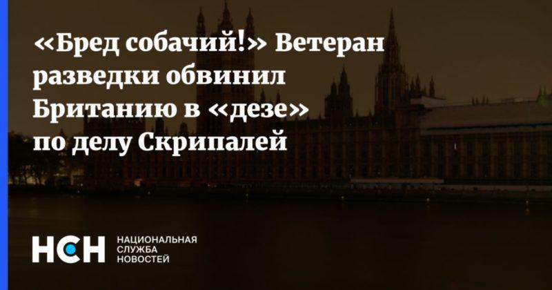 Общество: «Бред собачий!» Ветеран разведки обвинил Британию в «дезе» по делу Скрипалей