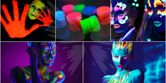 Luminous paint for a night party! Glowing body art, makeup, manicure